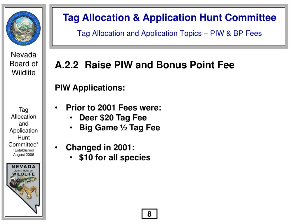 A.2.2	Raise PIW and Bonus Point Fee