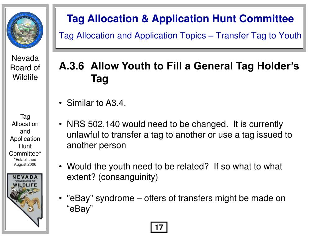 A.3.6	Allow Youth to Fill a General Tag Holder's 				Tag