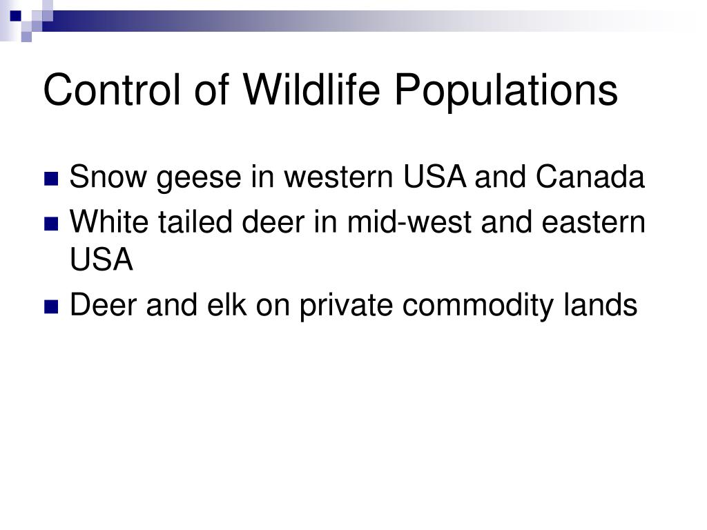 Control of Wildlife Populations