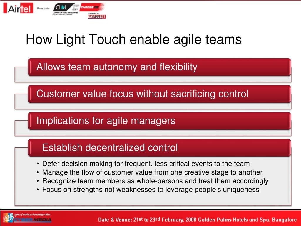How Light Touch enable agile teams