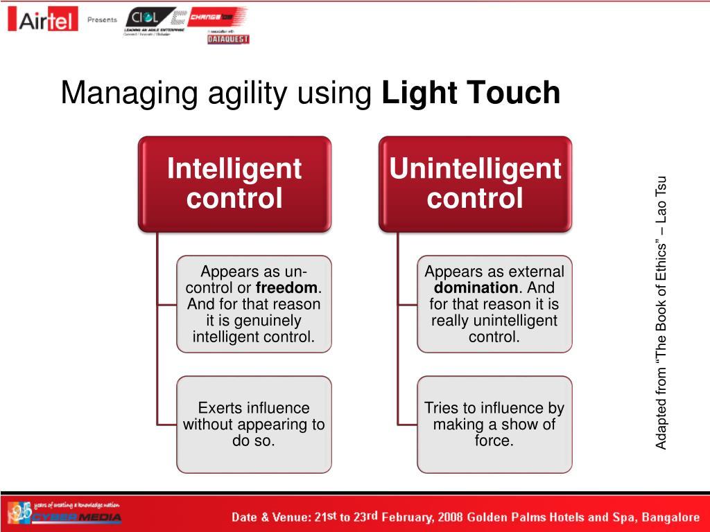 Managing agility using