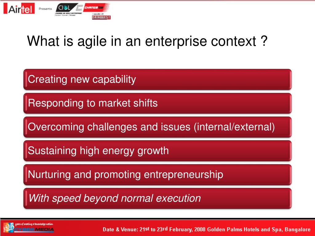 What is agile in an enterprise context ?