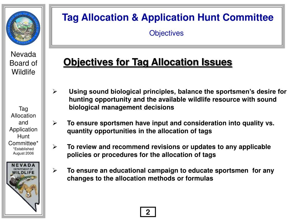 Objectives for Tag Allocation Issues