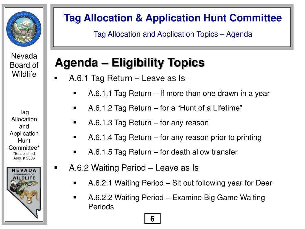 Agenda – Eligibility Topics