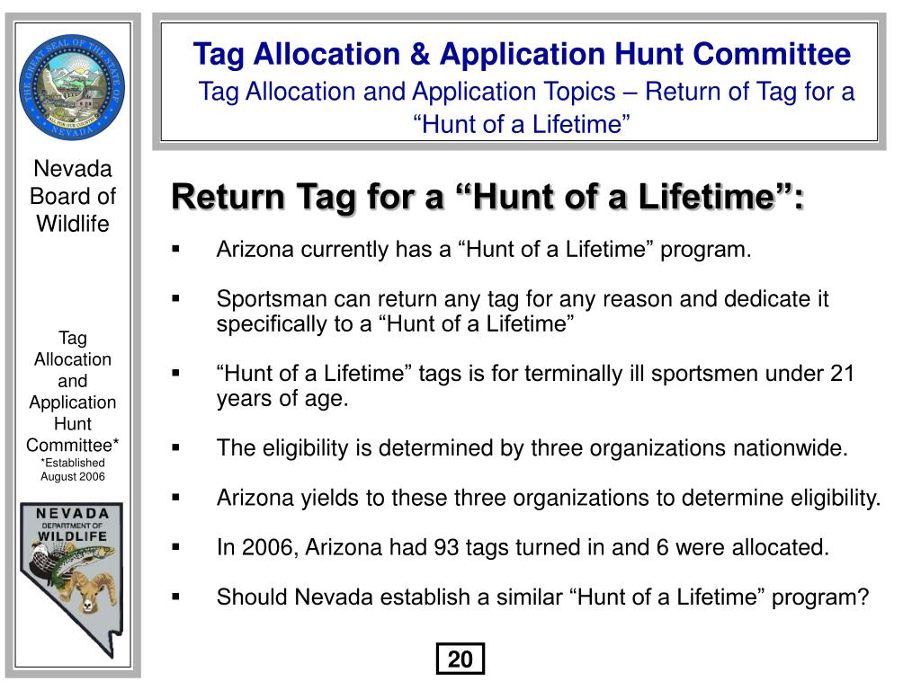 "Return Tag for a ""Hunt of a Lifetime"":"