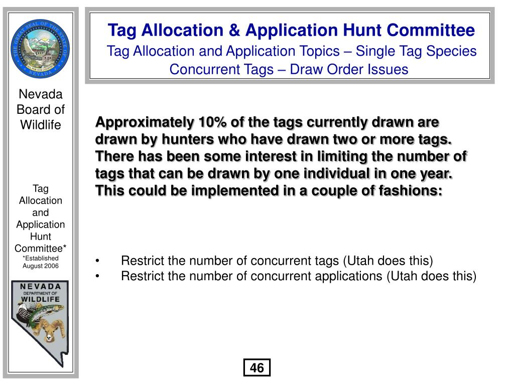 Approximately 10% of the tags currently drawn are drawn by hunters who have drawn two or more tags.  There has been some interest in limiting the number of tags that can be drawn by one individual in one year.  This could be implemented in a couple of fashions: