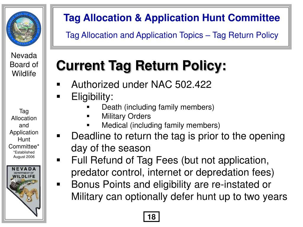 Current Tag Return Policy: