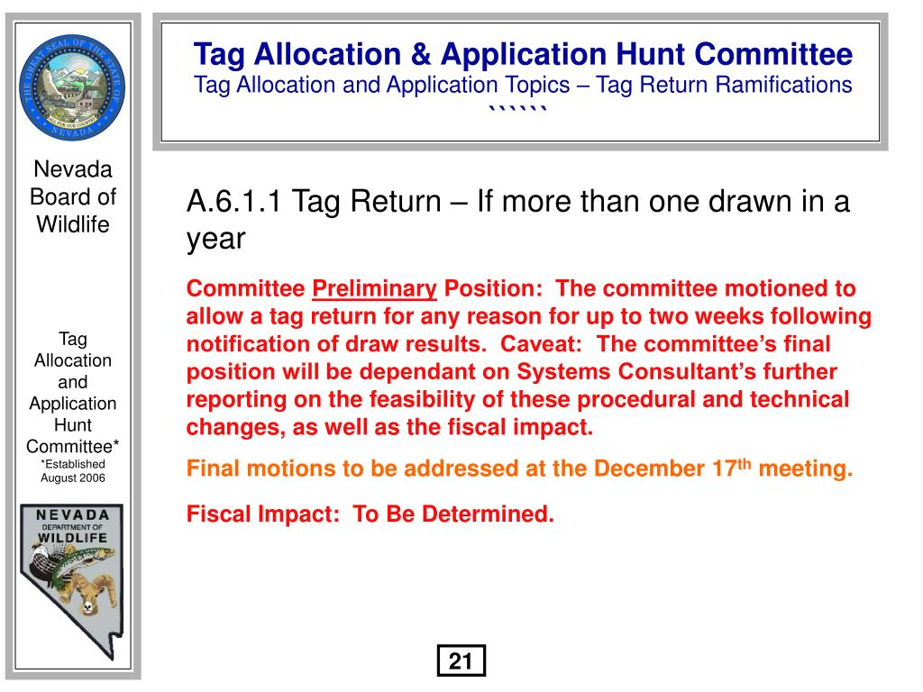 A.6.1.1 Tag Return – If more than one drawn in a year