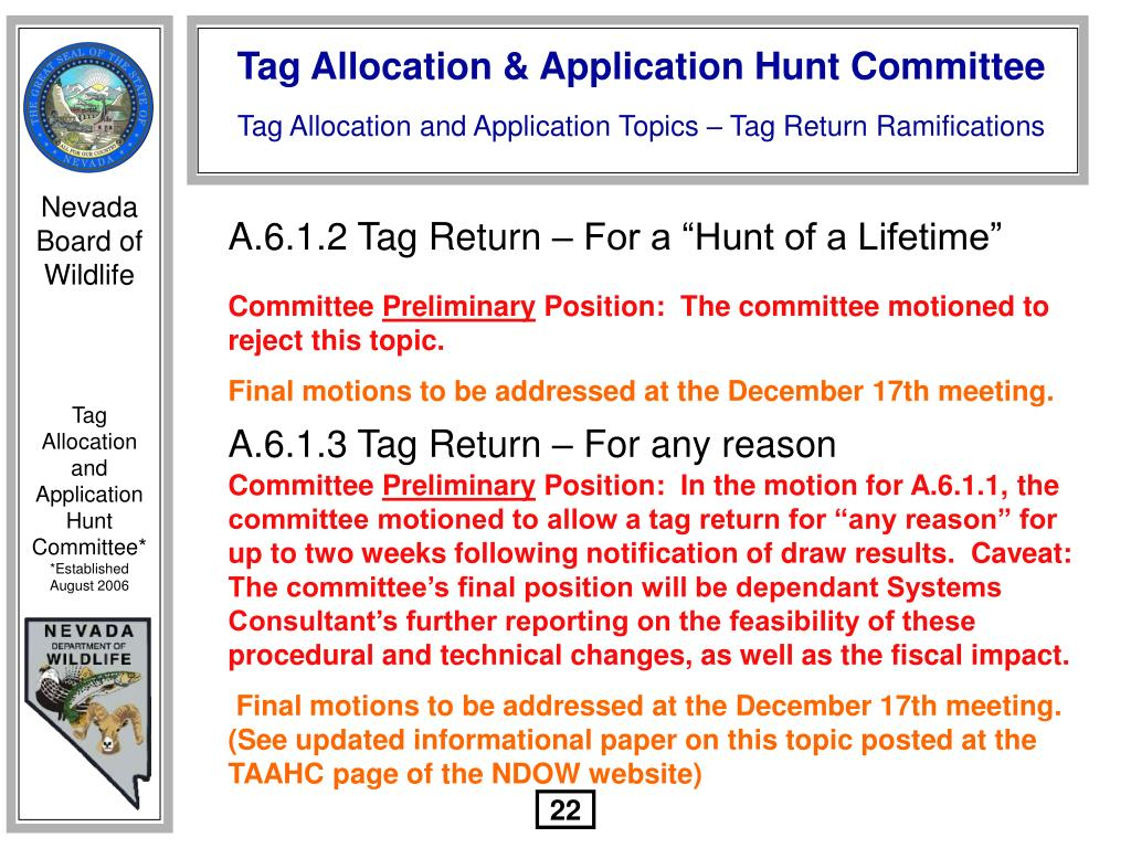 "A.6.1.2 Tag Return – For a ""Hunt of a Lifetime"""