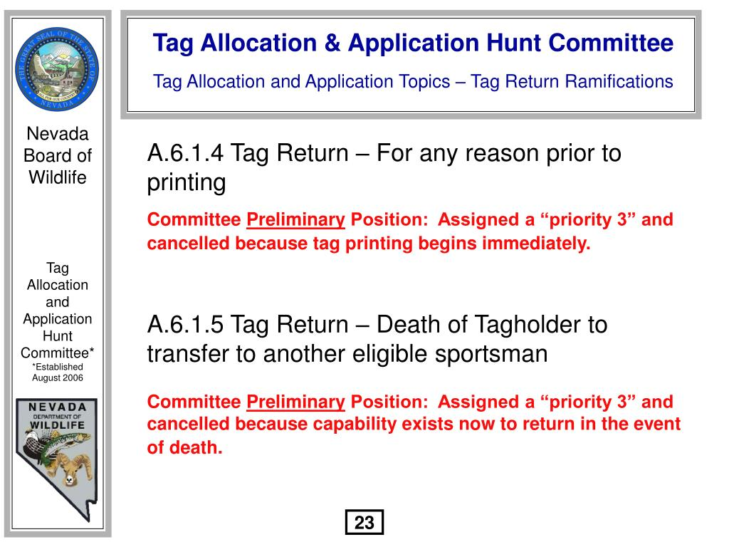 A.6.1.4 Tag Return – For any reason prior to printing
