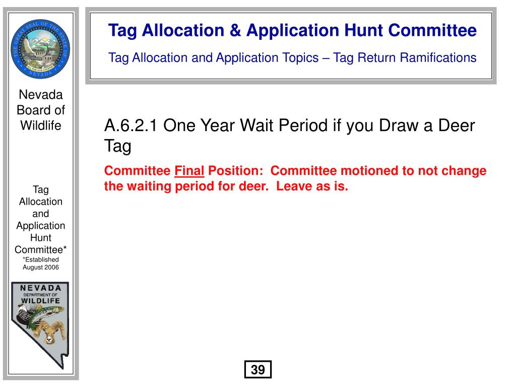 A.6.2.1 One Year Wait Period if you Draw a Deer Tag