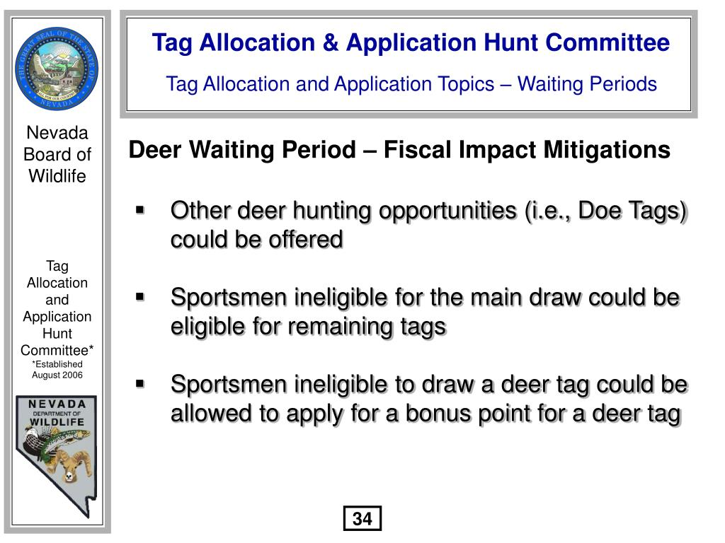 Deer Waiting Period – Fiscal Impact Mitigations