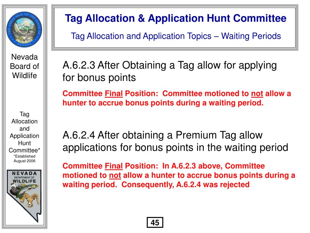 A.6.2.3 After Obtaining a Tag allow for applying for bonus points