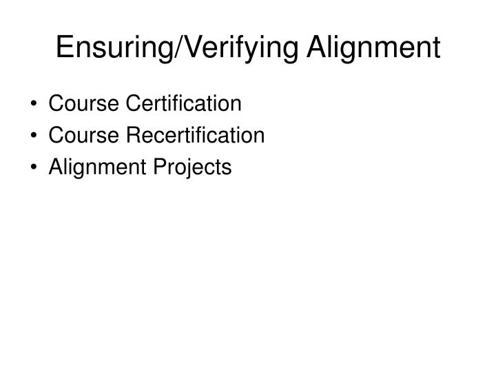 Ensuring/Verifying Alignment