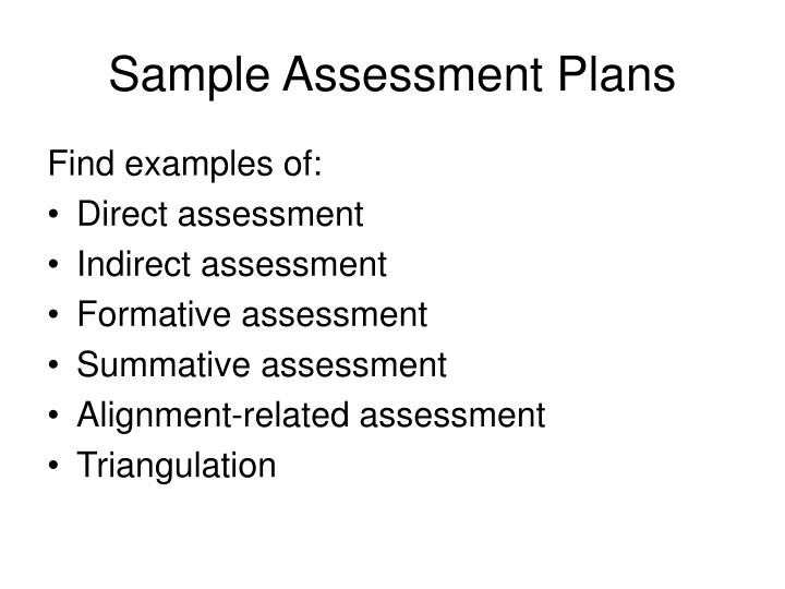 Sample Assessment Plans