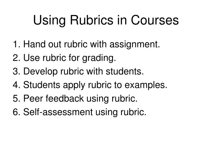 Using Rubrics in Courses