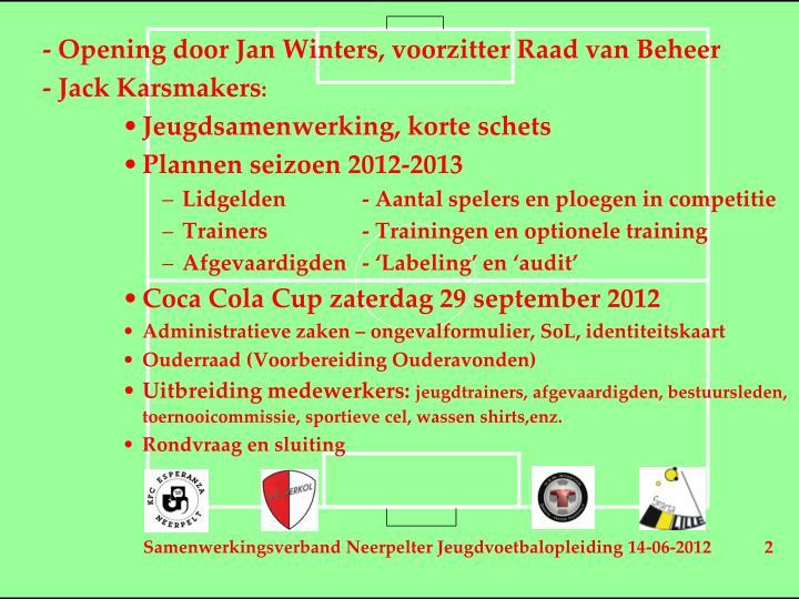 - Opening door Jan Winters, voorzitter Raad van Beheer