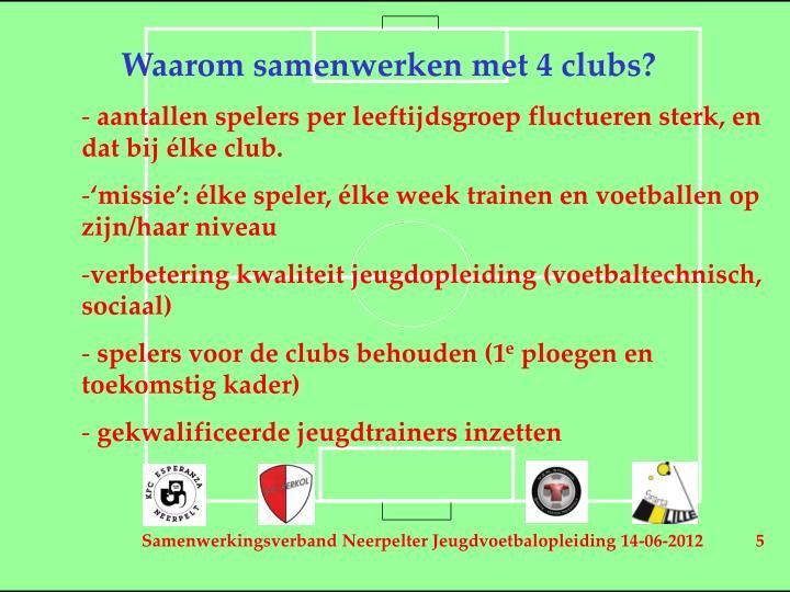 Waarom samenwerken met 4 clubs?