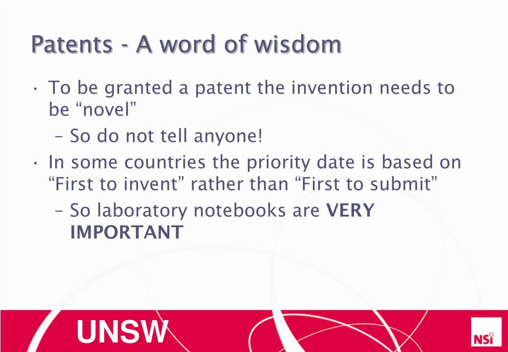 Patents - A word of wisdom