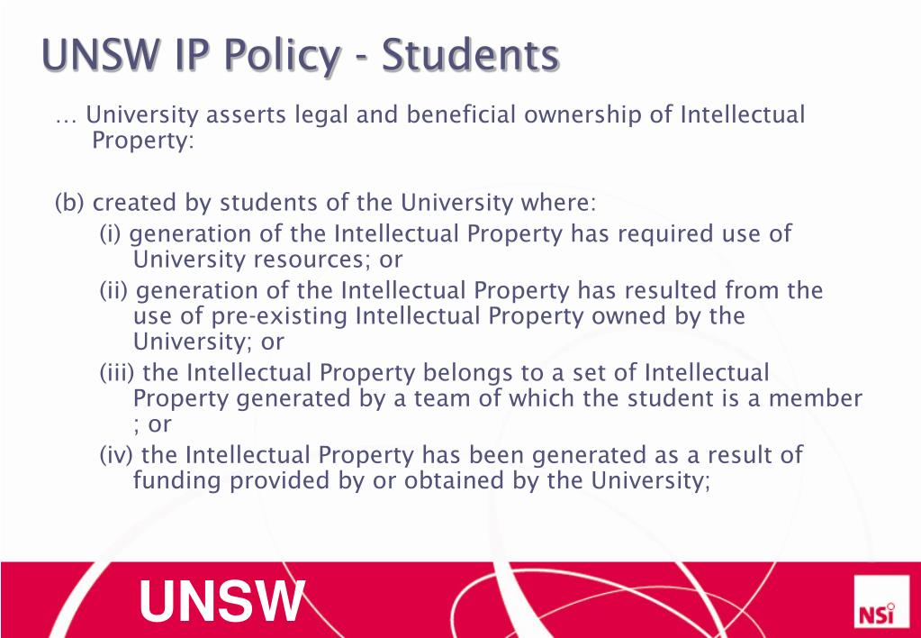 UNSW IP Policy - Students