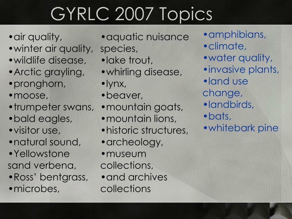 GYRLC 2007 Topics