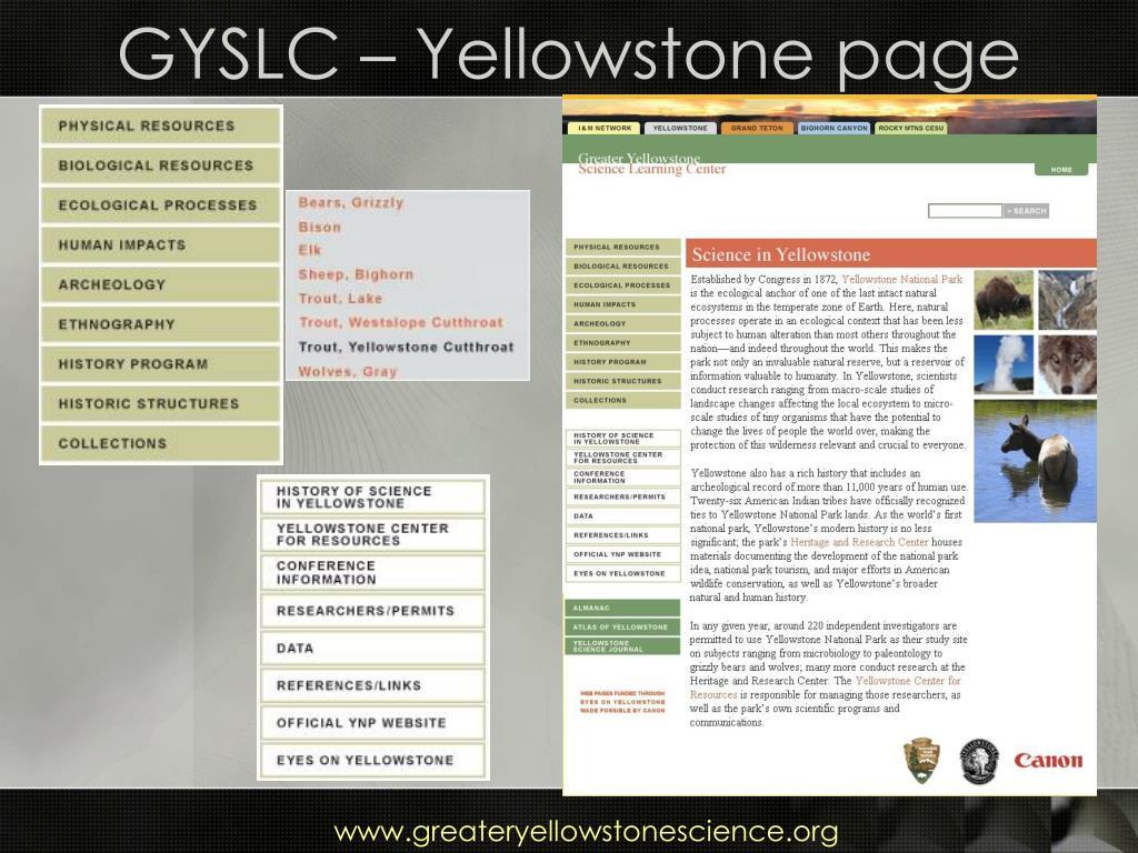 GYSLC – Yellowstone page