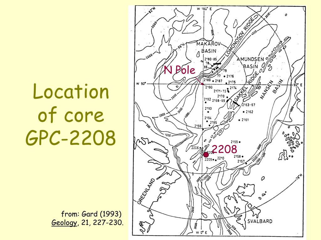 Location of core GPC-2208