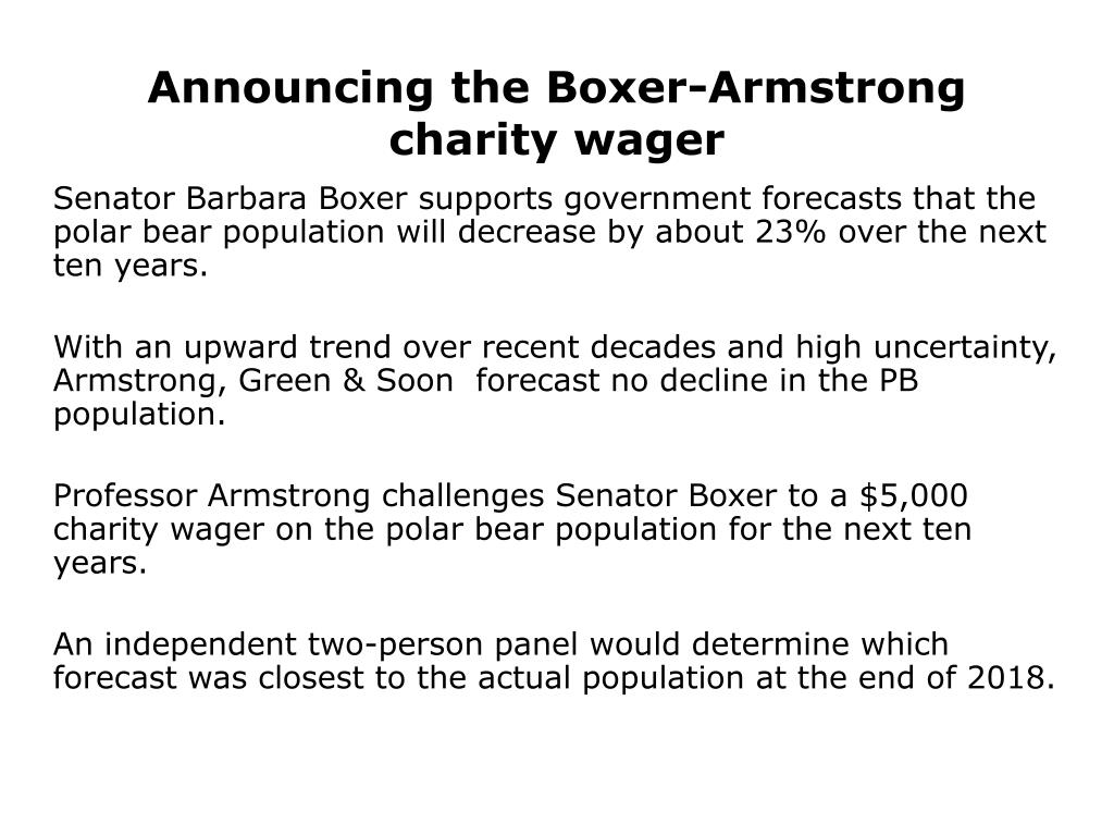 Announcing the Boxer-Armstrong charity wager