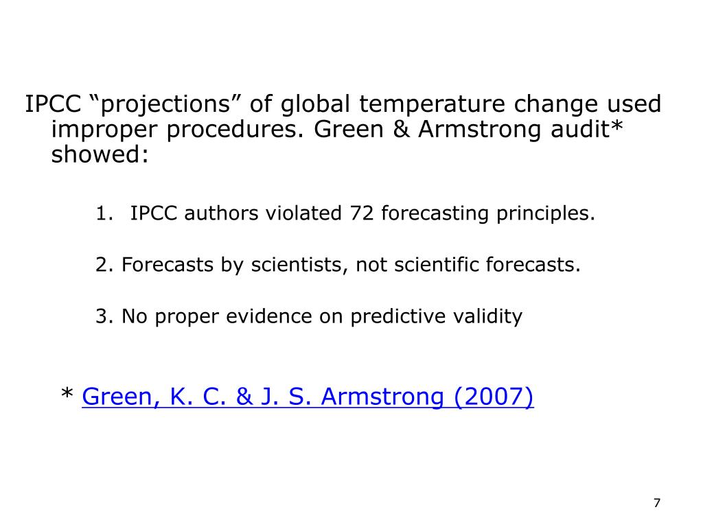 Auditing IPCC forecasts