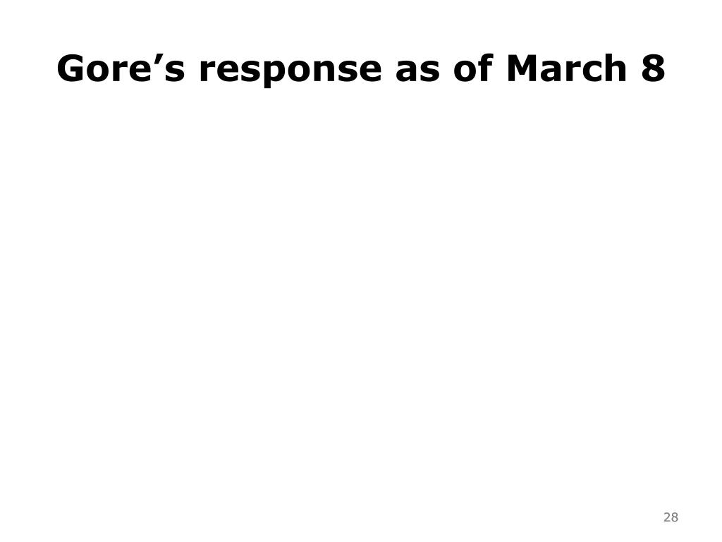 Gore's response as of March 8