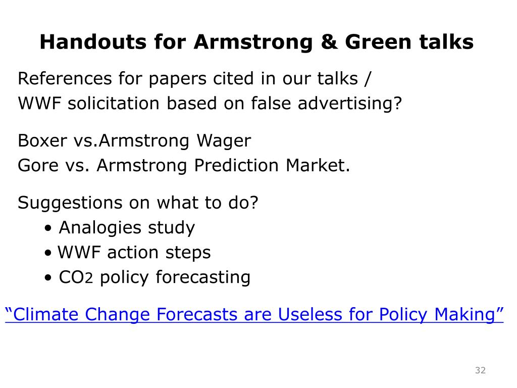 Handouts for Armstrong & Green talks