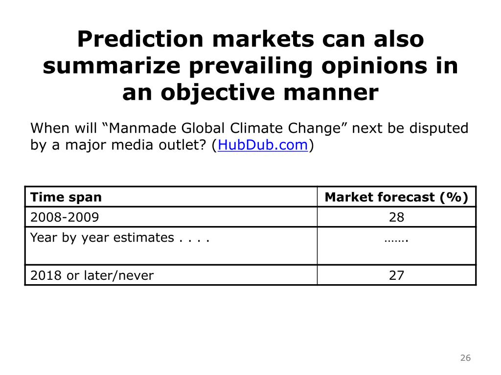 Prediction markets can also summarize prevailing opinions in an objective manner