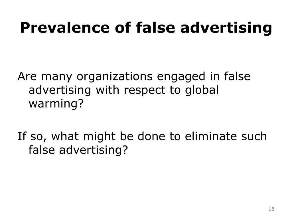Prevalence of false advertising