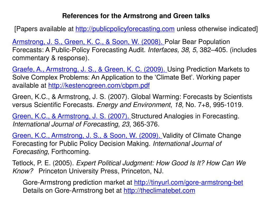 References for the Armstrong and Green talks