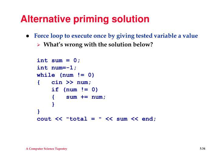 Alternative priming solution
