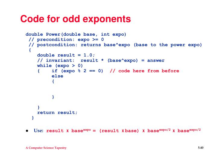 Code for odd exponents