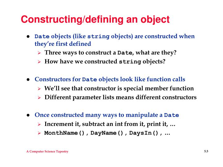 Constructing/defining an object