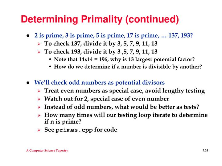 Determining Primality (continued)