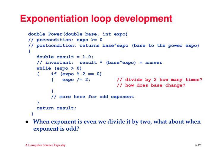Exponentiation loop development