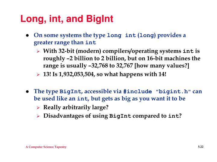 Long, int, and BigInt