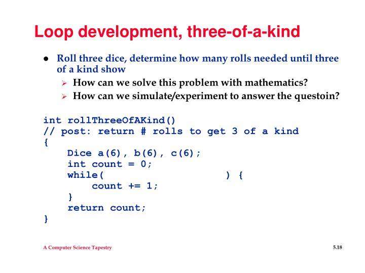 Loop development, three-of-a-kind