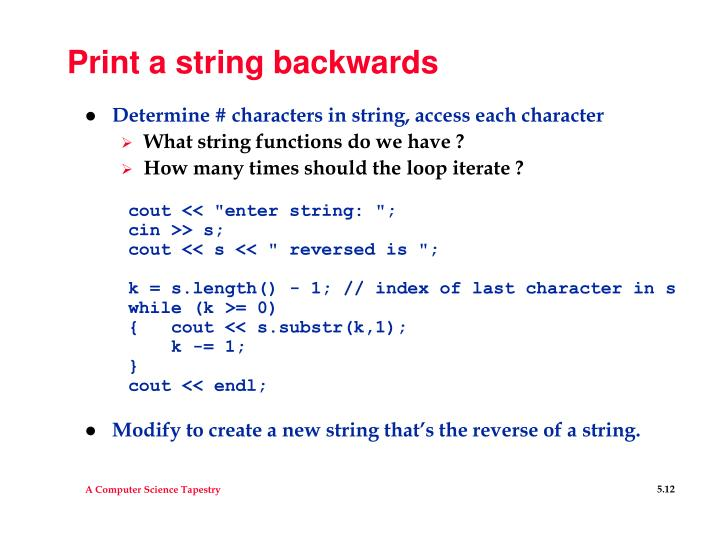 Print a string backwards