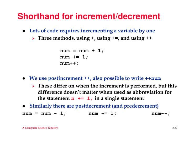 Shorthand for increment/decrement