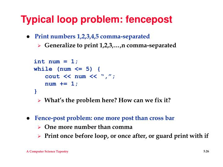 Typical loop problem: fencepost