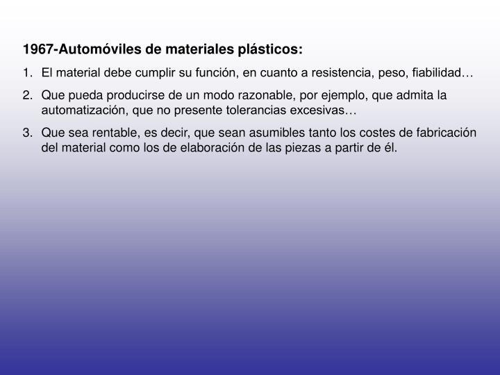 1967-Automóviles de materiales plásticos: