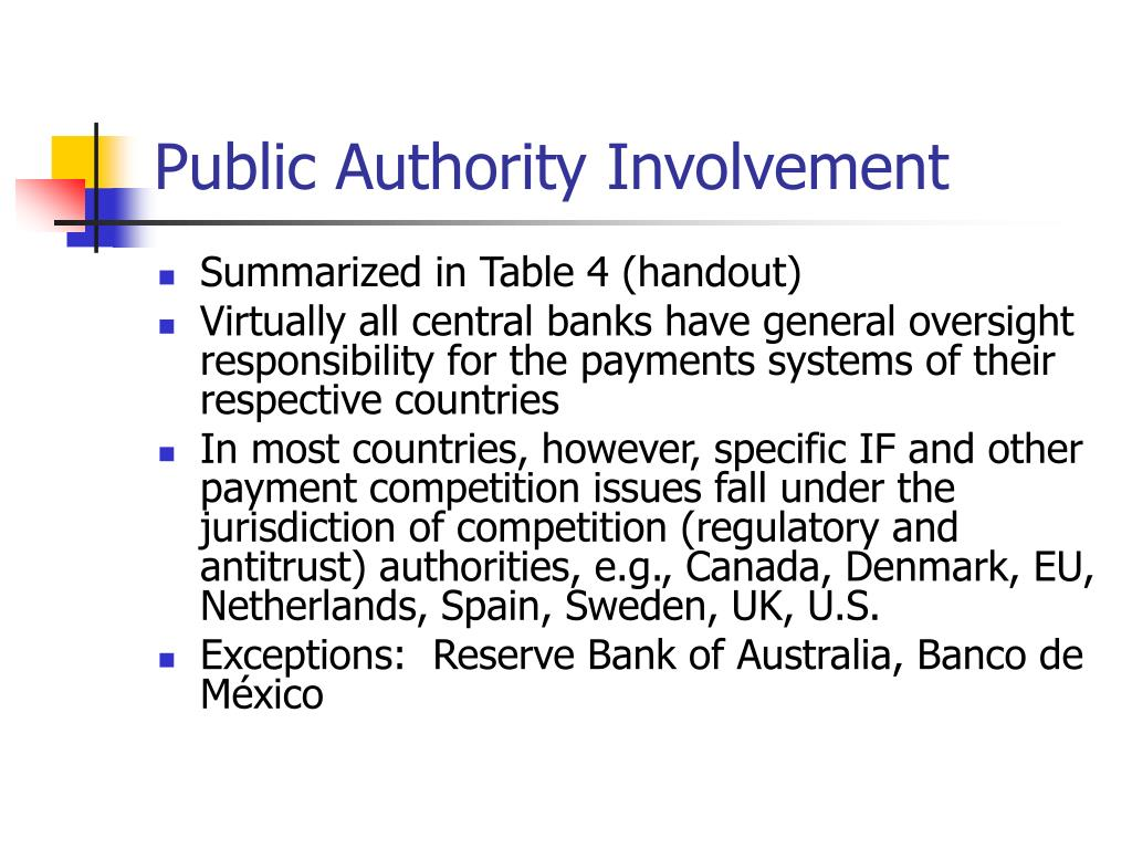 Public Authority Involvement