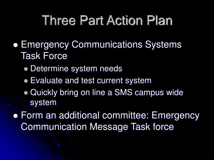 Three Part Action Plan