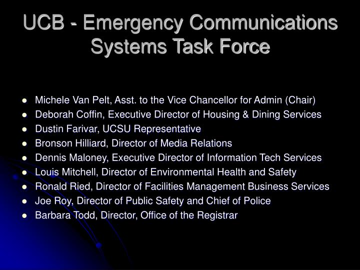 UCB - Emergency Communications Systems Task Force