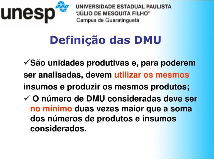 Definição das DMU