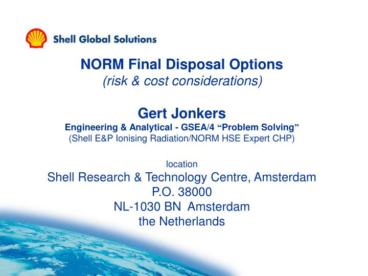 NORM Final Disposal Options